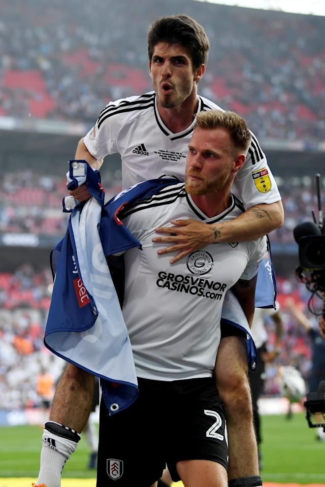 "Soccer Football - Championship Play-Off Final - Fulham vs Aston Villa - Wembley Stadium, London, Britain - May 26, 2018 Fulham's Tomas Kalas celebrates promotion to the Premier League Action Images via Reuters/Tony O'Brien EDITORIAL USE ONLY. No use with unauthorized audio, video, data, fixture lists, club/league logos or ""live"" services. Online in-match use limited to 75 images, no video emulation. No use in betting, games or single club/league/player publications. Please contact your account representative for further details."