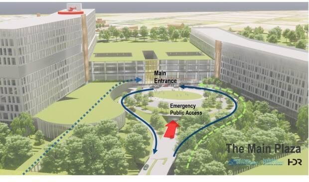 The public would reach the new Civic campus from an entrance on Carling Avenue. Ambulances would enter at an underground location at the back of the building. (The Ottawa Hospital - image credit)