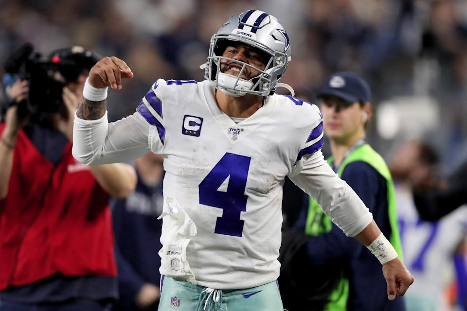 ARLINGTON, TEXAS - DECEMBER 29: Dak Prescott #4 of the Dallas Cowboys reacts in the third quarter against the Washington Redskins in the game at AT&T Stadium on December 29, 2019 in Arlington, Texas. (Photo by Tom Pennington/Getty Images)