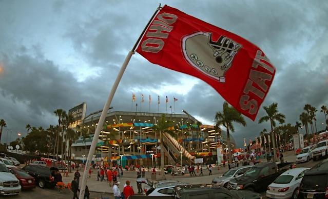 MIAMI GARDENS, FL - JANUARY 03: A general view as an Ohio State Buckeyes flag blows in the wind prior to the Discover Orange Bowl against the Clemson Tigers at Sun Life Stadium on January 3, 2014 in Miami Gardens, Florida. (Photo by Mike Ehrmann/Getty Images)