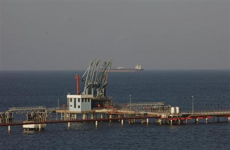A view of pipelines and a loading berth of the Marsa al Hariga oil port in the city of Tobruk, approximately 1,500 km (932 miles) east of Tripoli