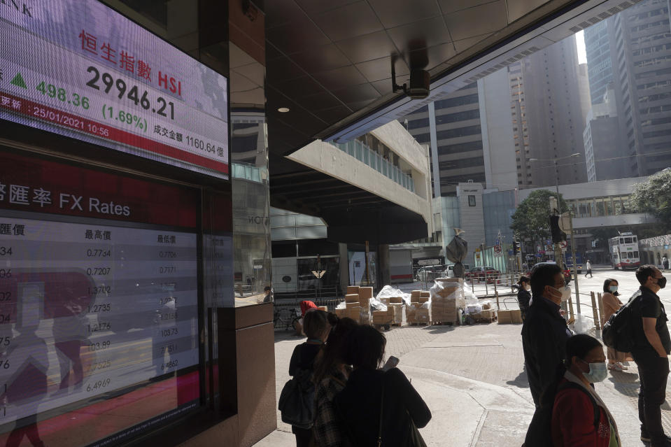 People walk past a bank's electronic board showing the Hong Kong share index at Hong Kong Stock Exchange in Hong Kong Monday, Jan. 25, 2021. Asian shares rose Monday amid some hope for recovering economies slammed by the pandemic, as market attention turned to upcoming company earnings. (AP Photo/Vincent Yu)