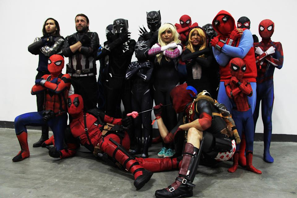<p>Superhero cosplayers posing for a photo together at the Singapore Toy, Game and Comic Convention (STGCC) 2018 (PHOTO: Abdul Rahman Azhari/Yahoo Lifestyle Singapore) </p>