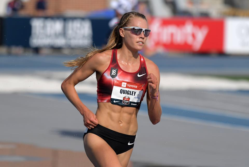 Colleen Quigley appears mid-stride while running the steeplechase race.