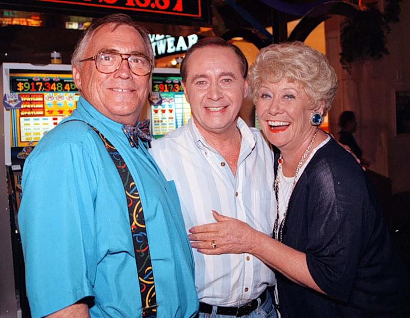 Viva Las Vegas as Jack (left) and Vera Duckworth (Bill Tarmey and Liz Dawn) meet up with Street veteran Ray Langton (actor Neville Buswell) in the gambling capital of the World, in a special Coronation Street video. (Photo by PA Images via Getty Images)