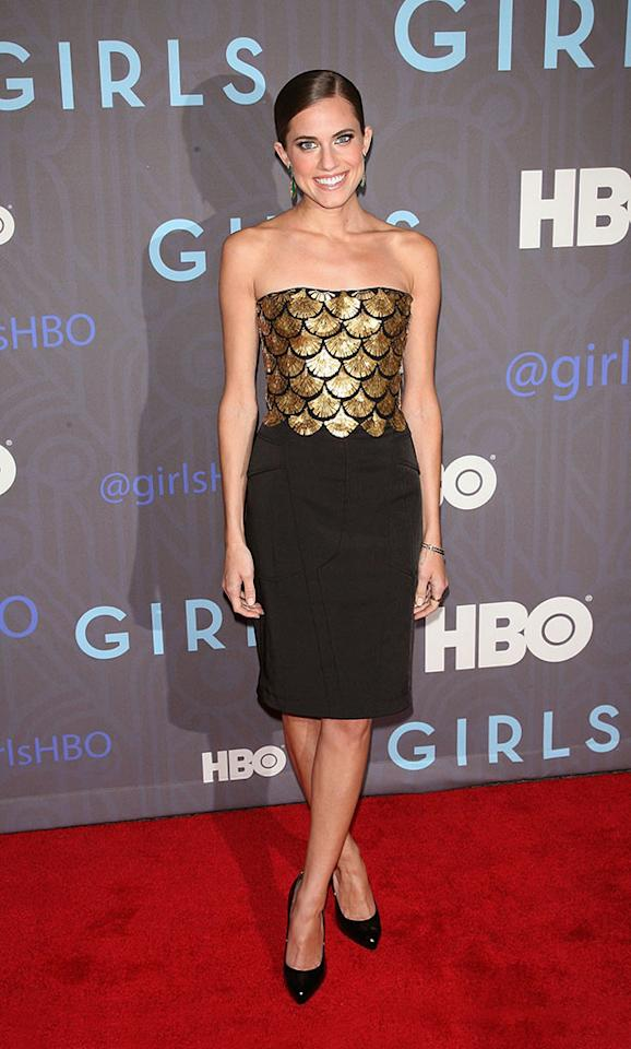 "Allison Williams attends HBO's premiere of ""Girls"" Season 2 at the NYU Skirball Center on January 9, 2013 in New York City."