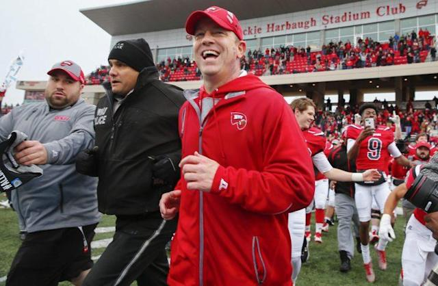 Jeff Brohm leaves the field after Western Kentucky's win over Louisiana Tech on Saturday. (Getty Images)