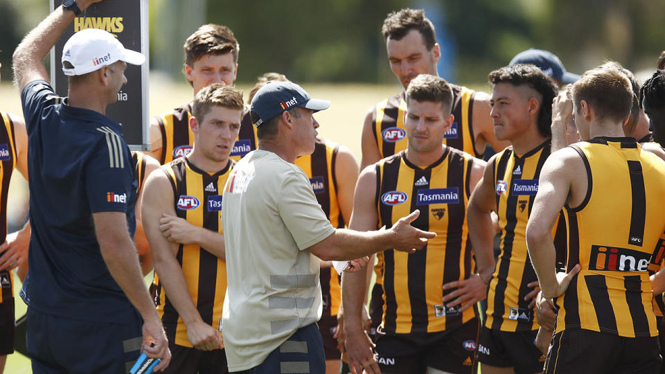 Hawthorn's coaching succession plan got off to a slightly rocky start after causing confusion among the playing group. (Photo by Daniel Pockett/AFL Photos/via Getty Images)