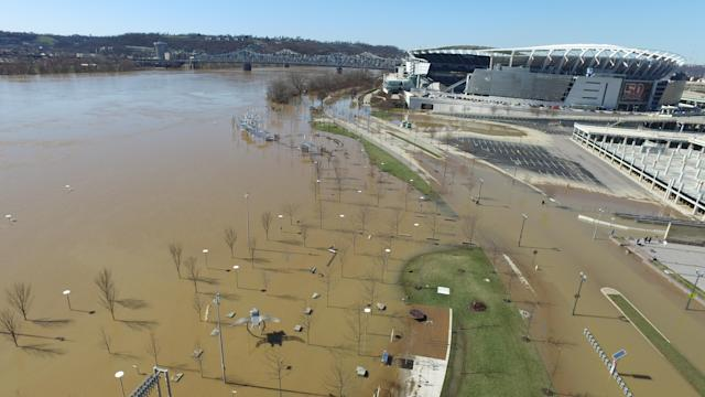 <p>This aerial image shows the flooded Ohio River near Paul Brown Stadium in Cincinnati, Ohio on Monday, Feb. 26, 2018. (Photo: DroneBase via AP) </p>