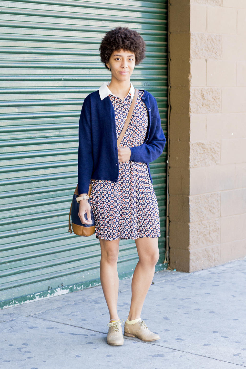 """<p><b>Yahoo Style:</b> How long have you been in L.A.?<br><b>Diana Will:</b> I just moved to L.A. from Nevada two weeks ago, and I love it. I was brought up Christian. A friend mentioned this church, and we all came here together. I liked the service; it was very uplifting. The sermon was about how even though evil is plotting against us and we're gonna fall down, God's got us.</p><p><b>Does God have you in your daily life?<br></b>God's been having my back for as long as I can remember. I was just going through a financial crisis and thought I couldn't get a job or pay the rent, but in the past few weeks I got a job and soon I'll be going to school even though I thought I couldn't afford it. But God said, """"No worries, I've got you,"""" and I can't begin to express how grateful I am.</p><p><b>Do your nonreligious friends ask you what being a Christian is like?<br></b>Yes, a lot. I say it's like being a fisherman. Basically you're out in the lake and you don't know what you're going to catch for the day, but you know that no matter how the day ends, you have someone who cares for you and loves you. You're constantly surrounded by this beautiful aura. It's so hard to explain.</p><p><b>Do you think that if you weren't raised Christian, you would have come to it?<br></b>Yes. There's something about God's presence that really draws you in.</p><p><b>You are so cute, and you have great style. What do you call it?<br></b>Plain Jane. The dress is from Macy's. I always wear dresses to church on Sundays.</p>"""