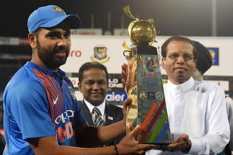"""Indian captain Rohit Sharma (L) praised Bangladesh for their """"fearless cricket"""" after they pushed their illustrious neighbours all the way in the final of the Twenty20 Tri-Series"""
