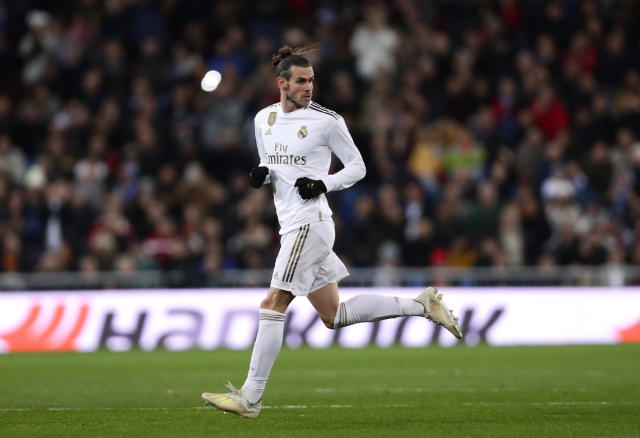 Real Madrid's Gareth Bale comes on as a sub during the Spanish La Liga soccer match between Real Madrid and Real Sociedad at the Bernabeu stadium in Madrid, Spain, Spain, Saturday, Nov. 23, 2019. (AP Photo/Manu Fernandez)