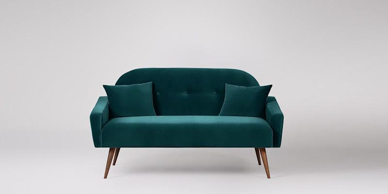 Swoon Oslo Two-seater Sofa, Kingfisher Deep Velvet, Walnut Feet (Photo: HuffPost UK)