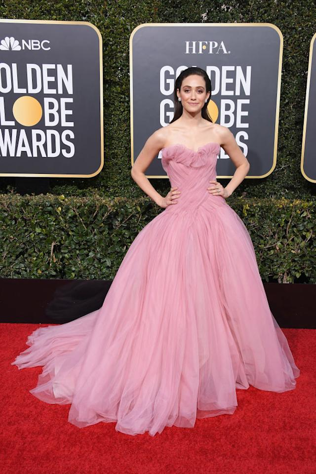 Emmy Rossum attends the 76th Annual Golden Globe Awards at the Beverly Hilton Hotel in Beverly Hills, Calif., on Jan. 6, 2019. (Photo: Getty Images)