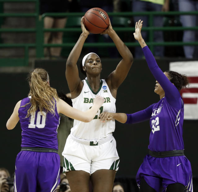 Abilene Christian guard Breanna Wright (10) and Makayla Mabry (32) defend as Baylor center Kalani Brown (21) prepares to make a pass in the first half of a first-round game in the NCAA women's college basketball tournament in Waco, Texas, Saturday March 23, 2019. (AP Photo/Tony Gutierrez)