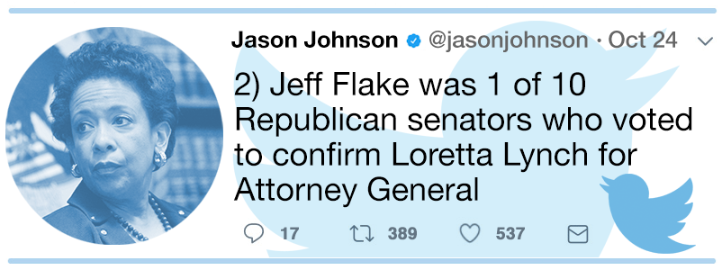 Disputing the Cruz aide who says Flake, not Trump, is the problem