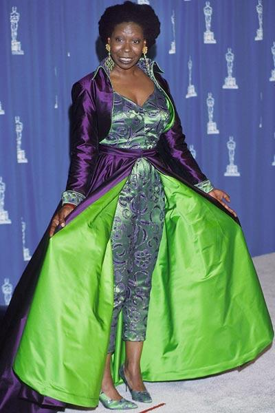 The purple and green jump suit , teamed with similar looking shoes and a purple skirt (If it was one) was a complete disaster. Did she participate in a fancy dress competition?  Worst-dressed (1993)