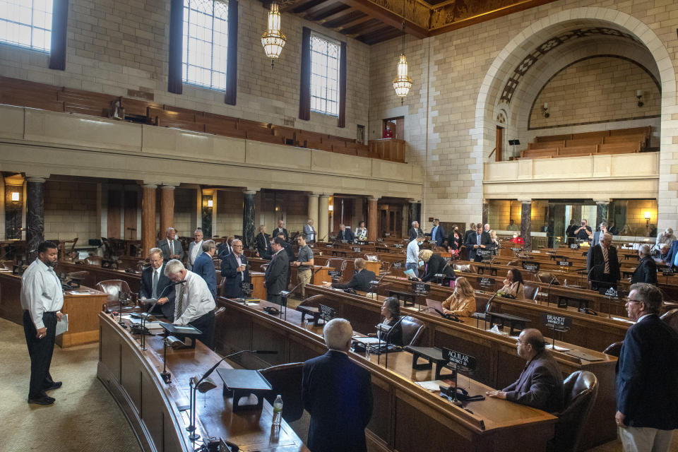 Nebraska state senators returned to the floor Monday for the first day of the special session on redistricting, Monday, Sept. 13, 2021, in Lincoln, Neb. (Justin Wan/Lincoln Journal Star via AP)