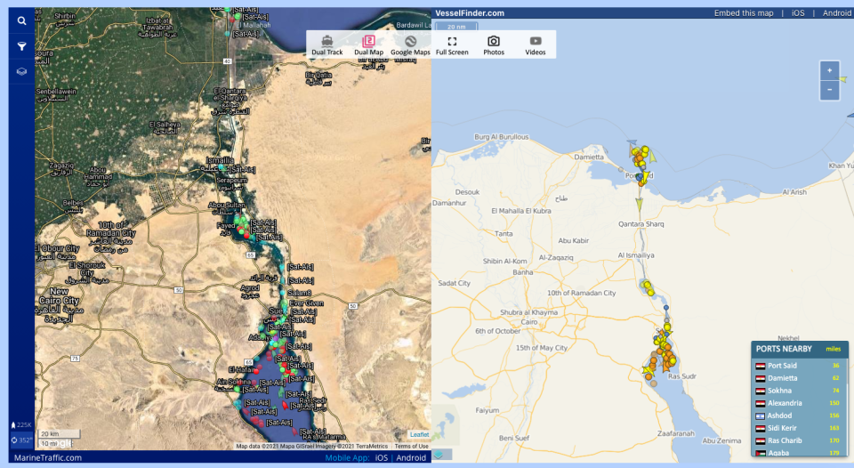 Traffic is blocked up in the Suez Canal. Image: Marine Vessel Traffic.