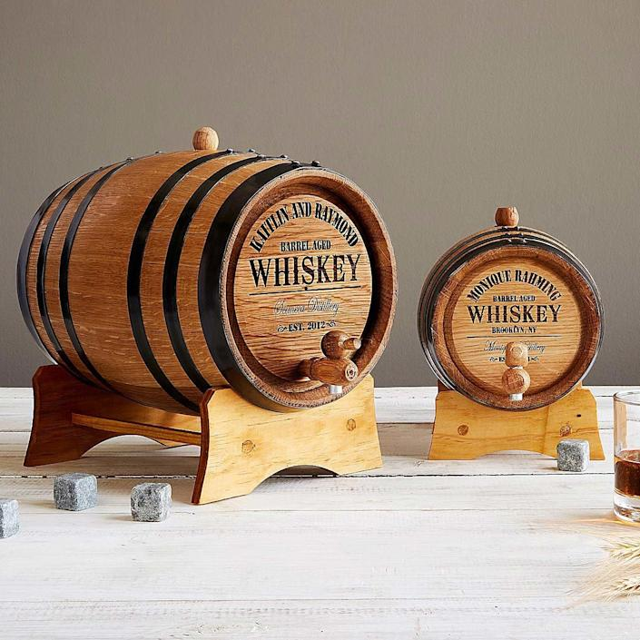 UncommonGoods Personalized Whiskey Barrel