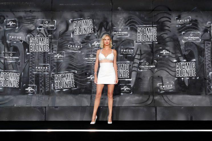 The star's all-white look from the Berlin premiere. (Photo: Getty Images)