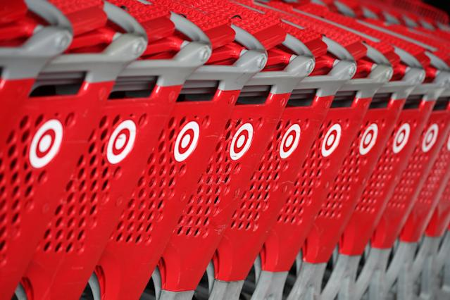 Shopping carts are seen at a Target store in Azusa, California, on November 16, 2017. REUTERS/Lucy Nicholson