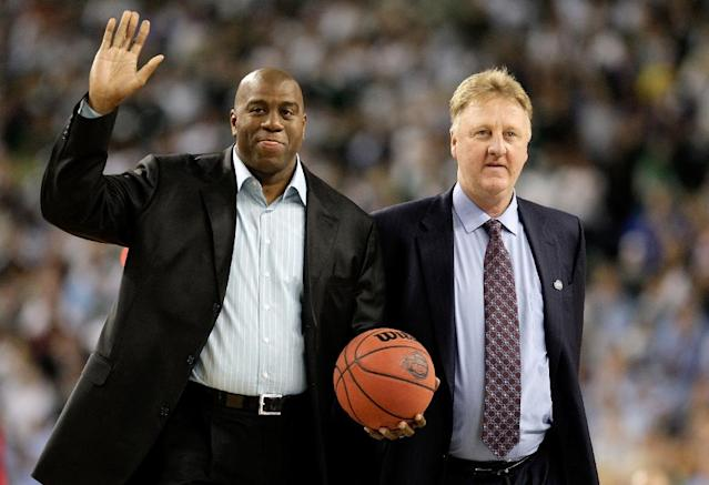 Magic Johnson and Larry Bird will be given a joint Lifetime Achievement award by the NBA next month (AFP Photo/ANDY LYONS)