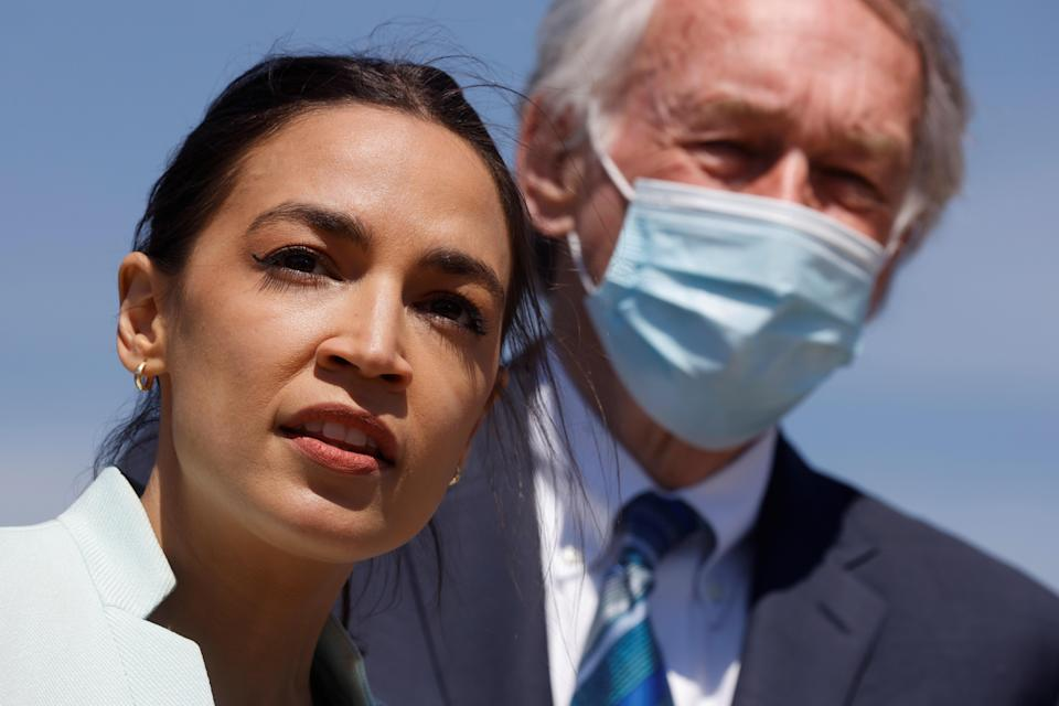 Representative Alexandria Ocasio-Cortez and Senator Ed Markey lead a news conference to re-introduce the Green New Deal at the Capitol on April 20, 2021. / Credit: JONATHAN ERNST / REUTERS