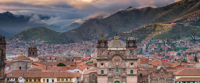 Morning sun rising at Plaza de armas, Cusco, City