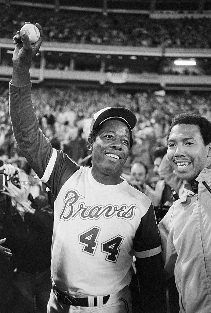 Hank Aaron with Record-Breaking Home-Run Ball