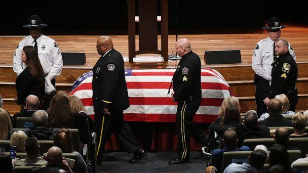 PHOTO: Hundreds of law enforcement officers silently file past the casket of Nick O'Rear during their final salute at Gardendale First Baptist Church, Feb. 10, 2020. (Joe Songer/The Birmingham News via AP)