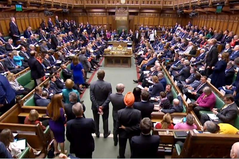The Brexit delay bill was passed in the Commons with a majority of just one vote (EPA)