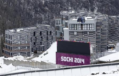 Appartment buildings are pictured next to the Sanki sliding center at the Rosa Khutor Alpine Resort in Krasnaya Polyana near Sochi