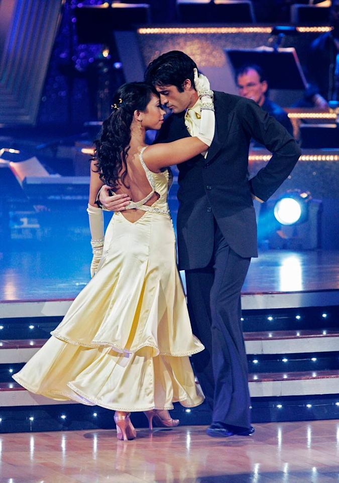 "Gilles Marini and Cheryl Burke perform the Viennese Waltz to ""I Go to Sleep"" by The Pretenders on ""Dancing with the Stars."""