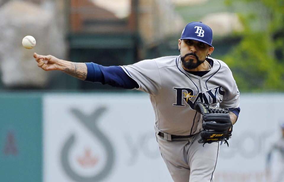 The Tampa Bay Rays used reliever Sergio Romo as their starting pitcher twice over the weekend against the Los Angeles Angels. (AP Photo/Mark J. Terrill)