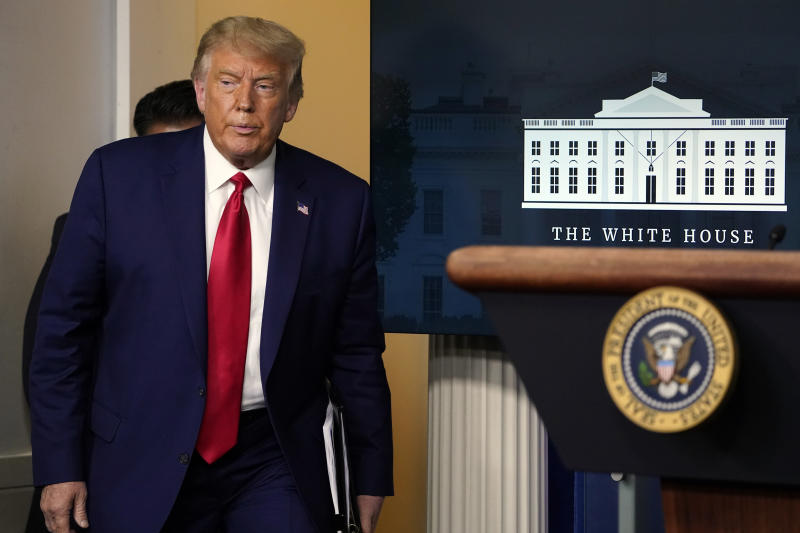 President Donald Trump arrives to speak during a news conference at the White House, Wednesday, Sept. 16, 2020, in Washington. (AP Photo/Evan Vucci)