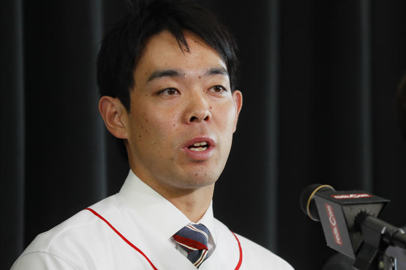 Cincinnati Reds outfielder Shogo Akiyama speaks during a news conference, Wednesday, Jan. 8, 2020, in Cincinnati. Outfielder Shogo Akiyama agreed to a $21 million, three-year deal with the Cincinnati Reds, the only major league team that hasn't had a player born in Japan. The 31-year-old center fielder was a five-time All-Star during his nine seasons with the Seibu Lions in Japan's Pacific League. (AP Photo/John Minchillo)