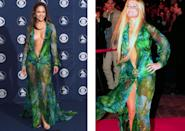<p>J Lo wore this iconic Versace dress to the Grammys in 2000 - and Geri hit headlines for wearing the same number the same month. <i>[Photo: Rex]</i></p>