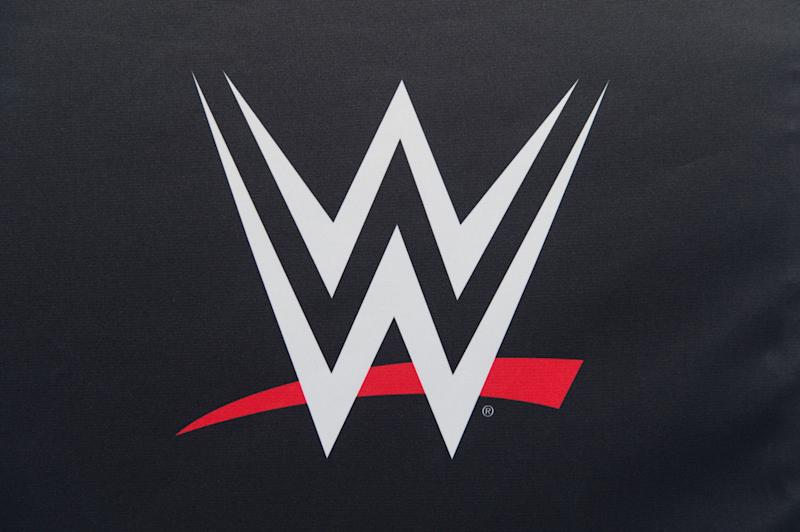 COLOGNE, GERMANY - NOVEMBER 07: A WWE Logo at the WWE Live Tryout at the Motorworld on November 7, 2018 in Cologne, Germany. (Photo by Marc Pfitzenreuter/Getty Images)