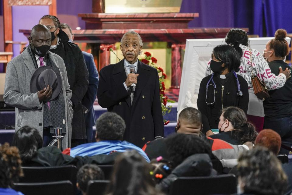 Rev. Al Sharpton speaks during a visitation for Daunte Wright Wednesday, April 21, 2021, in Minneapolis. Daunte Wright was fatally shot by a police officer during a traffic stop. (AP Photo/Morry Gash)
