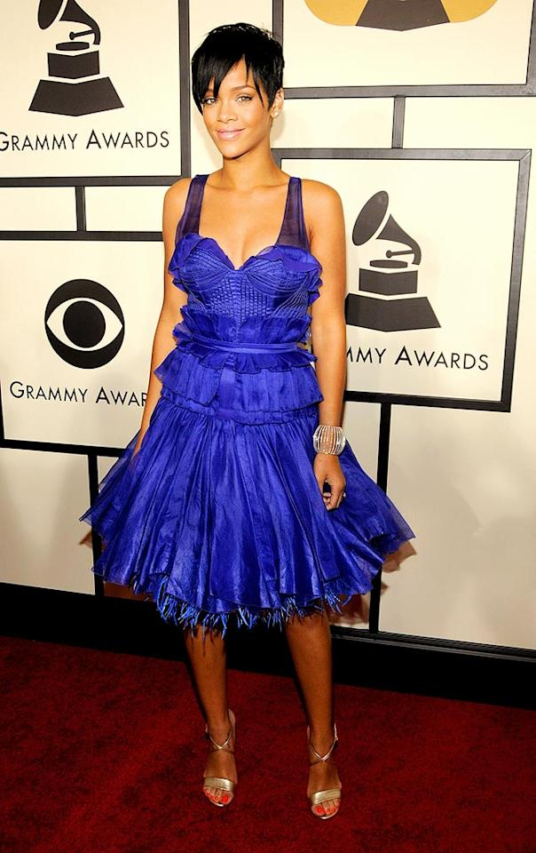 """Rihanna truly disappointed in a hideous blue Zac Posen mess. Regardless, the Barbadian beauty won a Grammy for Best Rap/Sung Collaboration (""""Umbrella""""). Kevin Mazur/<a href=""""http://www.wireimage.com"""" target=""""new"""">WireImage.com</a> - February 10, 2008"""