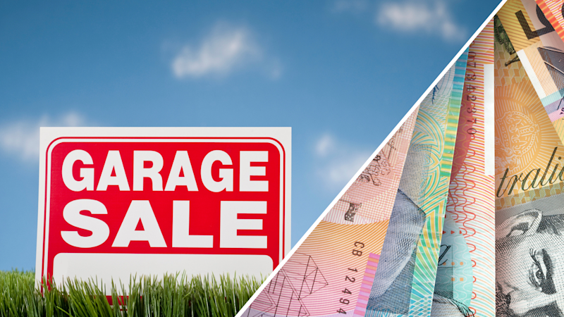 Pictured: Garage sale image and Australian cash fine. Images: Getty