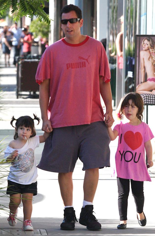 """Adam Sandler's precious daughters Sunny and Sadie are daddy's girls! MVP/<a href=""""http://www.x17online.com"""" target=""""new"""">X17 Online</a> - October 9, 2010"""