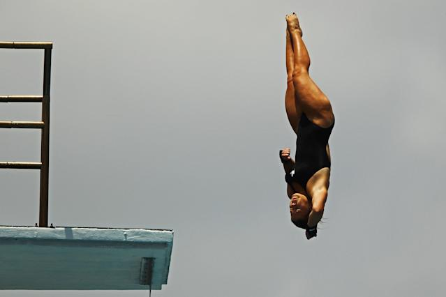 FORT LAUDERDALE, FL - MAY 11: Roseline Filion of Canada dives during the Womens 10m Platform preliminaries at the Fort Lauderdale Aquatic Center on Day 2 of the AT&T USA Diving Grand Prix on May 11, 2012 in Fort Lauderdale, Florida. (Photo by Al Bello/Getty Images)