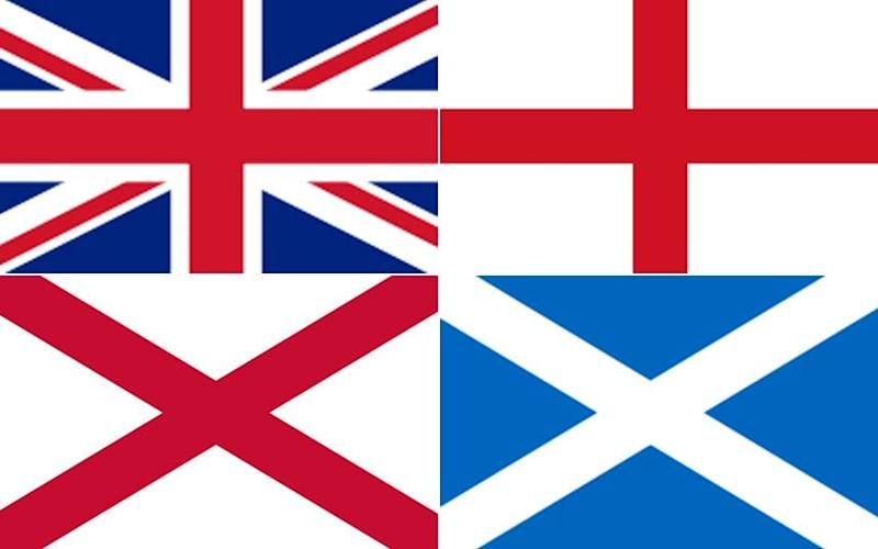 Clockwise from top left: Union flag, St George's Cross, St Andrew's Saltire, St Patrick's Saltire