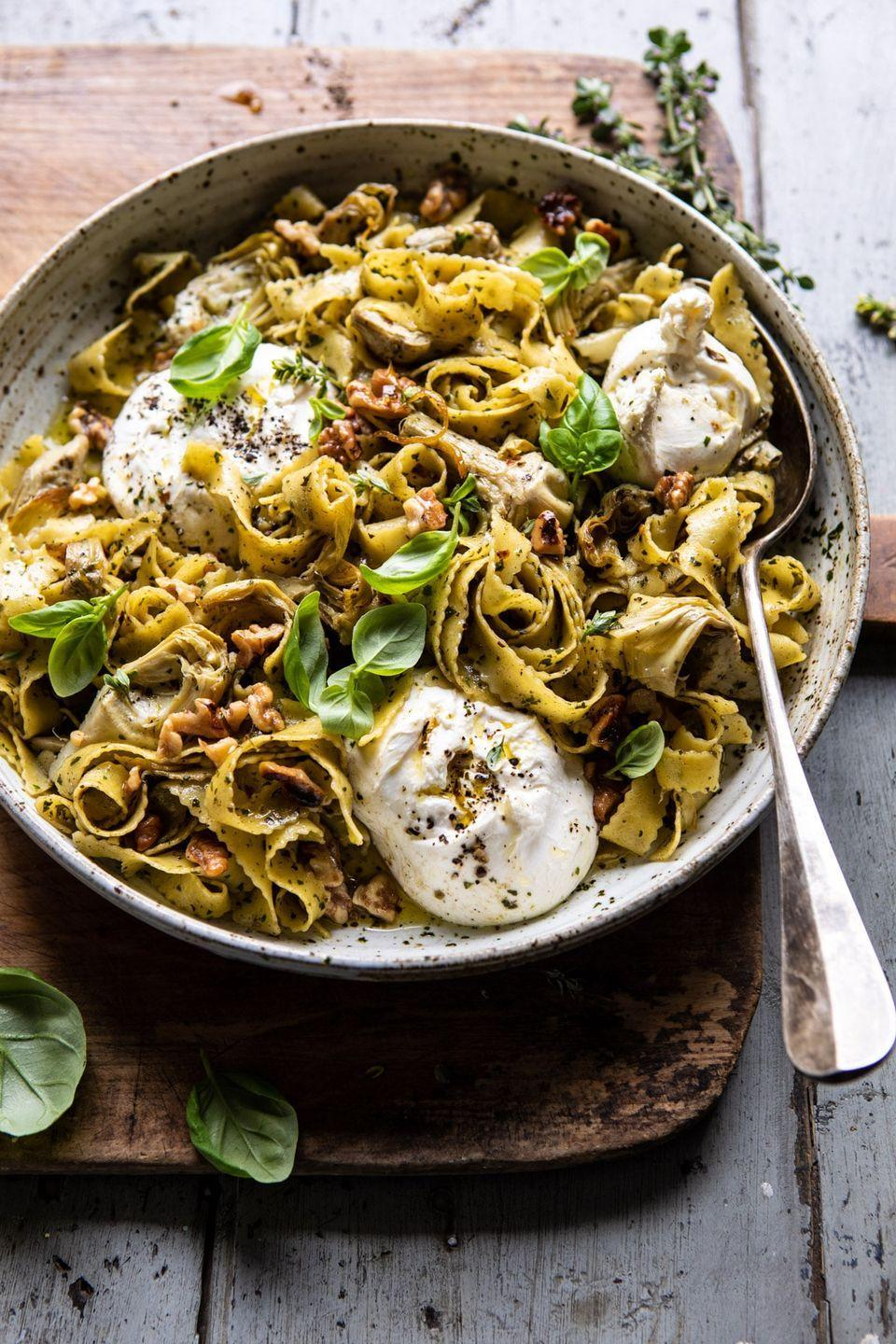 """<p>Adding the big scoops of burrata onto this tangy, nutty pasta dish might be our favorite part of making it.</p><p><strong>Get the recipe at <a href=""""https://www.halfbakedharvest.com/roasted-lemon-artichoke-and-browned-butter-pasta/"""" rel=""""nofollow noopener"""" target=""""_blank"""" data-ylk=""""slk:Half Baked Harvest"""" class=""""link rapid-noclick-resp"""">Half Baked Harvest</a>.</strong></p><p><strong><strong><a class=""""link rapid-noclick-resp"""" href=""""https://www.amazon.com/Stainless-Steel-Skillet-Glass-Cover/dp/B01D0MDZRO/ref=sr_1_5?tag=syn-yahoo-20&ascsubtag=%5Bartid%7C10050.g.1487%5Bsrc%7Cyahoo-us"""" rel=""""nofollow noopener"""" target=""""_blank"""" data-ylk=""""slk:SHOP SKILLETS"""">SHOP SKILLETS</a></strong><br></strong></p>"""