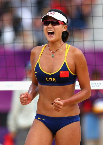 LONDON, ENGLAND - AUGUST 04:  Chen Xue of China celebrates during the Women's Beach Volleyball Round of 16 match between China and Russia on Day 8 of the London 2012 Olympic Games at Horse Guards Parade on August 4, 2012 in London, England.  (Photo by Ryan Pierse/Getty Images)