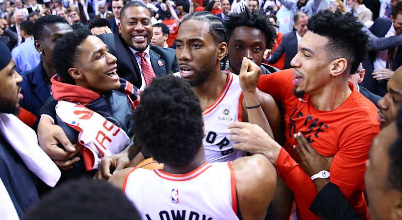 Kawhi Leonard's unbelievable shot to put the Toronto Raptors past the Philadelphia 76ers was the NBA's play of the season. (Photo by Vaughn Ridley/Getty Images)
