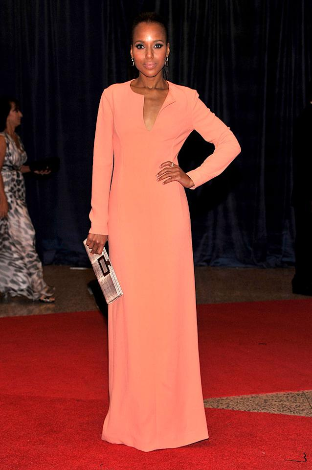 "Miss Washington went to Washington! Kerry, the star of the ABC political drama ""Scandal,"" looked sweet in a long-sleeved peach Calvin Klein gown and simple ponytail."