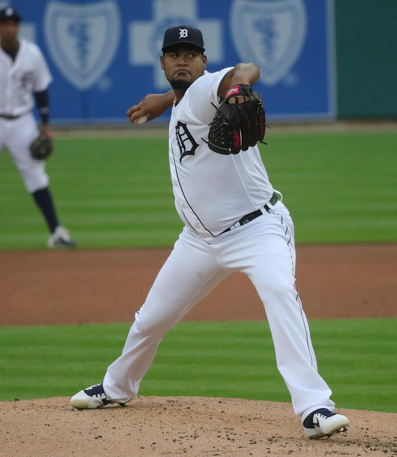 Tigers pitcher Ivan Nova pitches against the Indians during the second inning at Comerica Park on Friday, August 14, 2020.